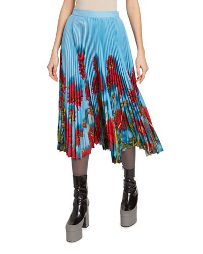 Floral-Print Plisse Midi Skirt