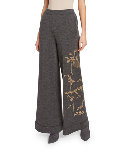 Wide-Leg Knit Pants with Metallic Embroidery