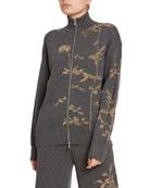 Dries Van Noten Metallic Melange Zip-Front Sweater