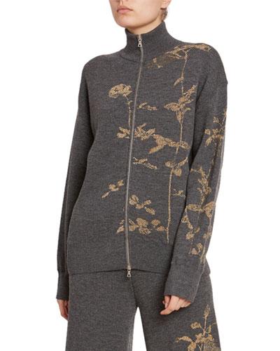 Metallic Melange Zip-Front Sweater