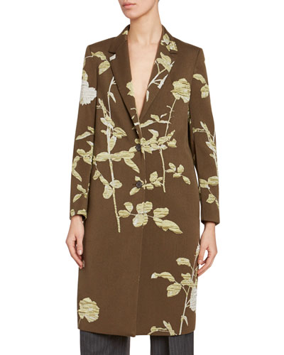 Floral-Print Wool Single Breasted Coat