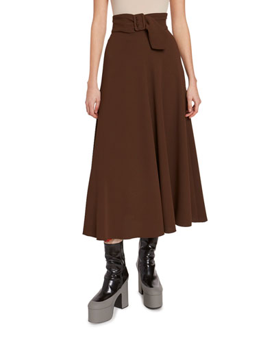 Belted Full A-Line Skirt
