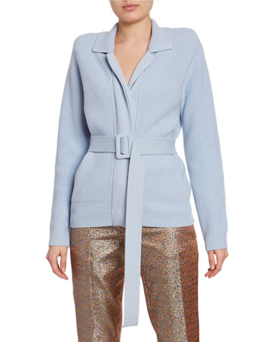 Ribbed Belted Cardigan