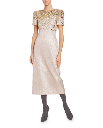 Degrade Encrusted Sparkly Midi Dress
