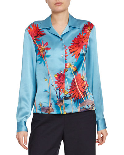 Dahlia Floral-Print Satin Button-Front Blouse