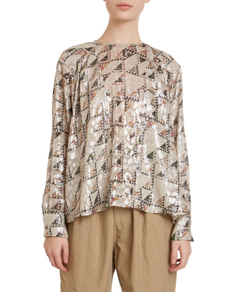 Isabel Marant Midway Fil Coupe Quilting-Print Blouse