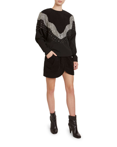 Valia Sequined Raglan-Sleeve Sweatshirt