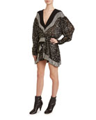 Isabel Marant Caldes Messy-Sequined Long-Sleeve Dress