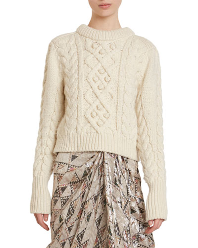 Milford Cable-Knit Wool Crop Sweater