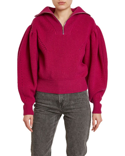 Kuma Chunky-Wool Puff-Shoulder Sweater