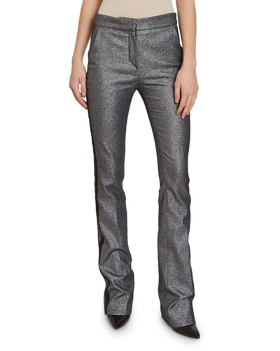 Shimmer-Smocked Twill Tuxedo-Striped Pants