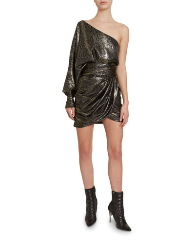 One-Shoulder Python-Jacquard Mini Dress