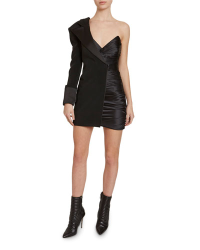 Asymmetric Half-Blazer Satin Mini Dress