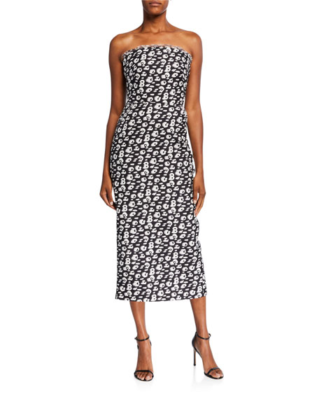 Brandon Maxwell Cheetah Jacquard Silk Strapless Sheath Dress