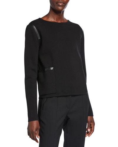 Periodi Leather-Trim Wool Sweater