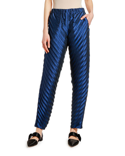 Satin Plisse Bias-Cut Pants