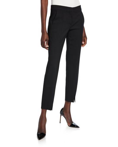 Sassari Straight-Leg Cropped Pants, Black