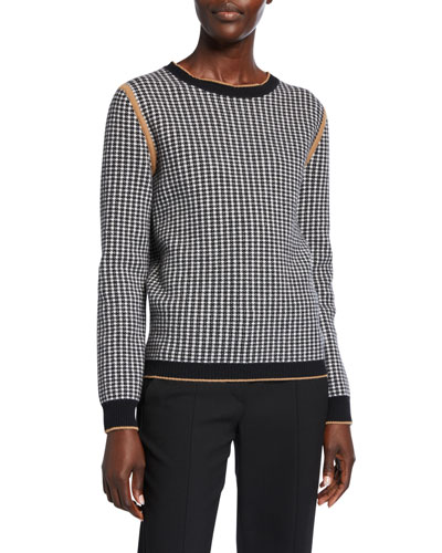 Colle Houndstooth Wool-Cashmere Sweater