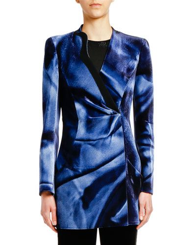 Printed Velvet Ruched-Front Long Jacket