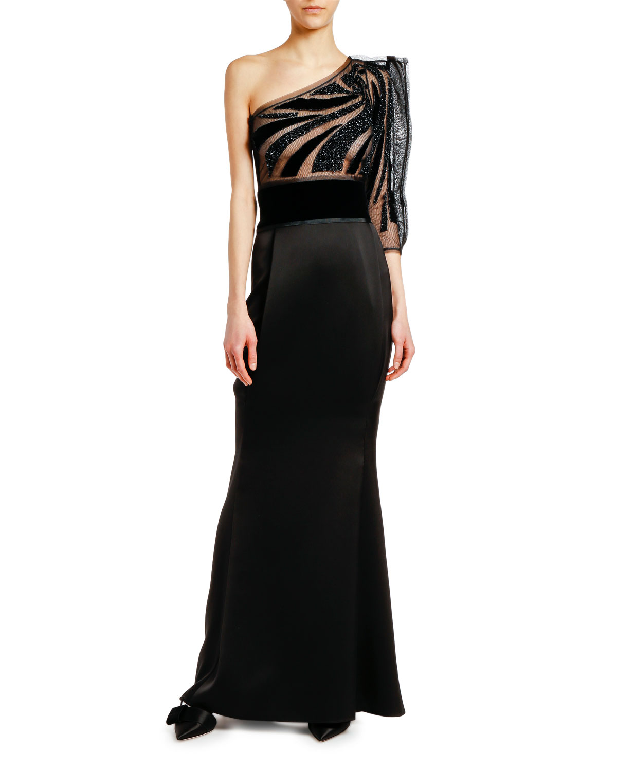 One-Shoulder Tulle Satin Gown