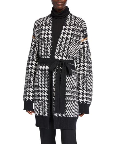 Malizia Houndstooth Wool-Cashmere Long Cardigan