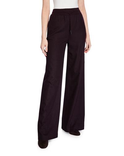 Kevan Cashmere Flannel Wide-Leg Pants