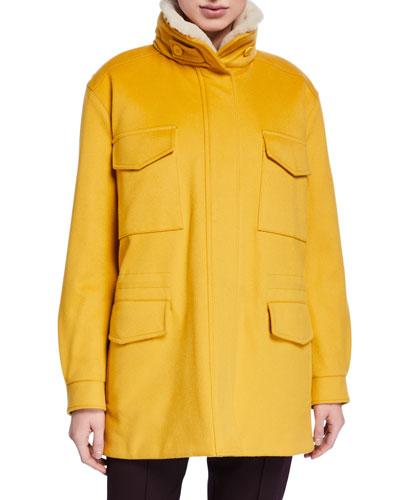 Traveler Cashmere Fur-Collar Maxi Storm Jacket