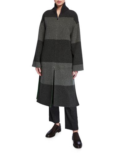 Reversible Cashmere-Pile Zip-Front Coat