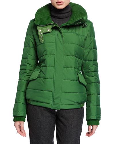 Badger Wind Stretch Short Cashmere-Lined Puffer Jacket