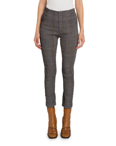High-Rise Flare-Cuff Plaid Pants