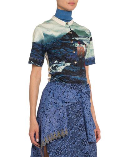 Landscape -Print Cotton T-Shirt
