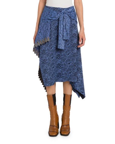 Chloe Bi-Color Floral Faux-Wrap Skirt