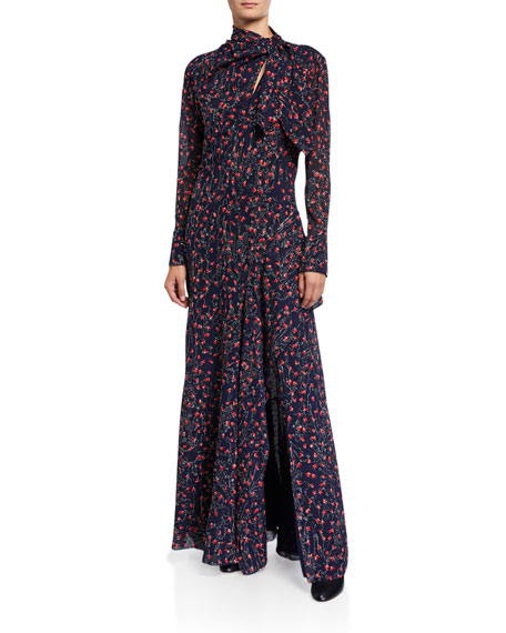 Chloe Aquatic Flower-Embroidered Silk Tie-Neck Gown