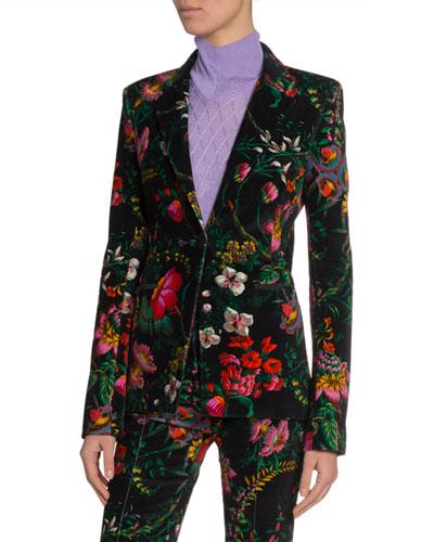 Floral Velvet Fitted Blazer