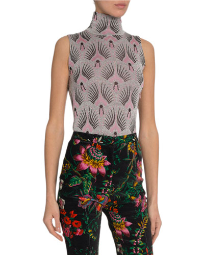 Shimmered Art Deco Sleeveless Turtleneck Top