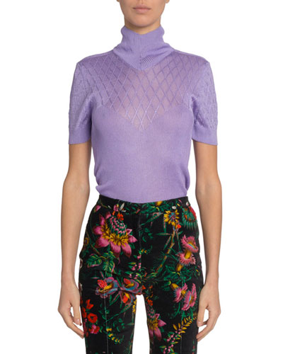 Mesh-Yoke Short-Sleeve Turtleneck Sweater