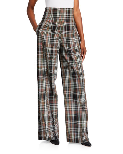 Plaid Wool Wide-Leg Pants