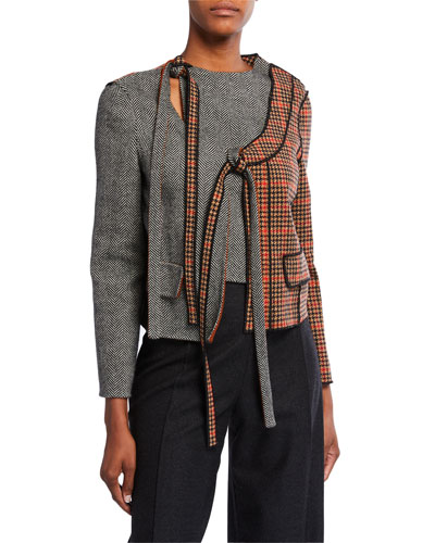 Wool-Cashmere Patchwork Tie-Front Jacket