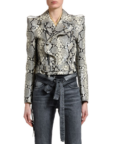 Python-Print Leather Biker Jacket