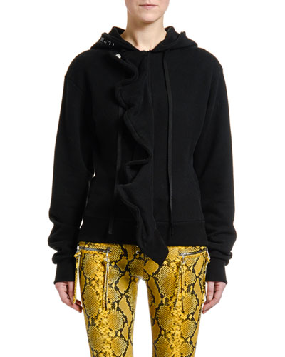 Ruffled-Front Sweatshirt Hoodie