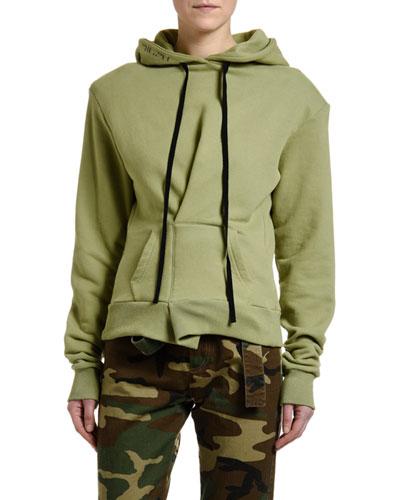 Pintucked Hoodie Sweatshirt