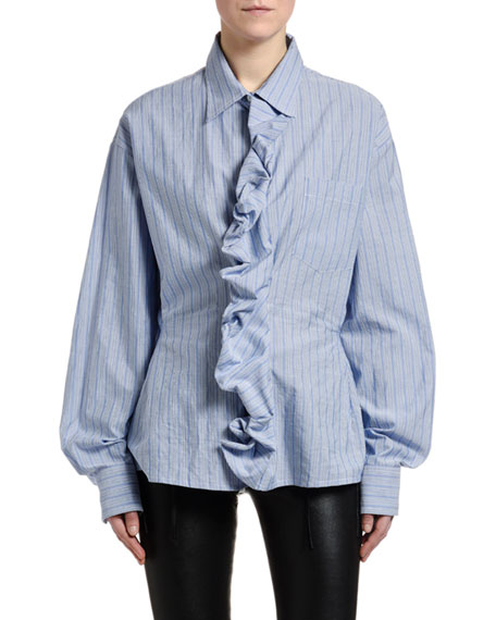 UNRAVEL Pinstriped Ruffled Front Cotton Shirt