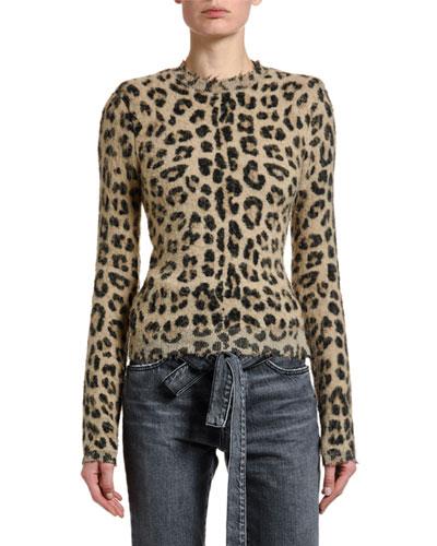Leopard-Print Seamed Sweater