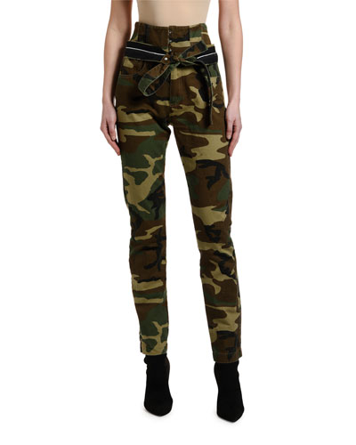 Camo High-Rise Skinny Corset Jeans