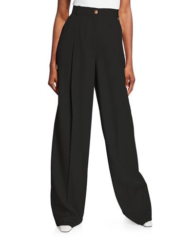 Wool Gabardine High-Rise Pants