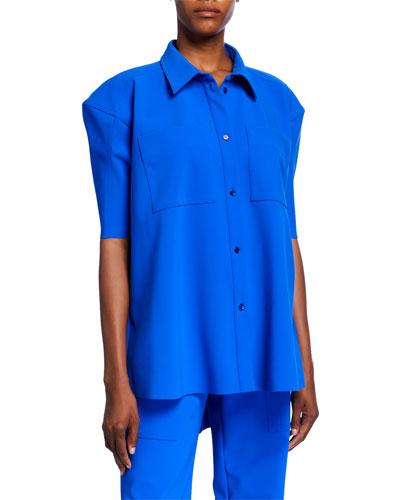 Puff-Sleeve Scuba Button-Front Shirt