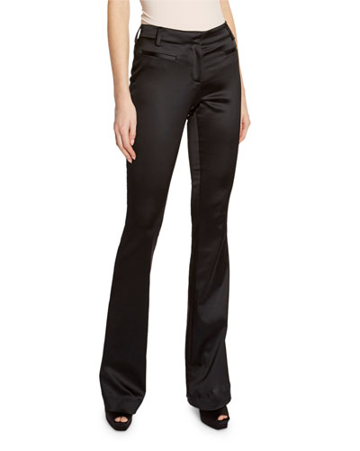 Silk Satin Boot-Cut Pants