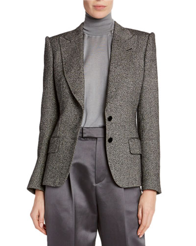 Donegal-Tweed Strong-Shoulder Jacket