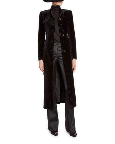 Velvet Stand-Collar Military Coat