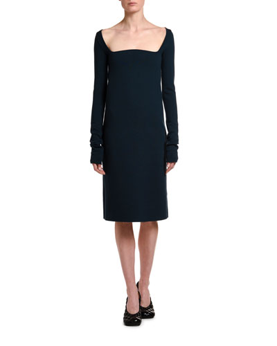 Wool Crepe Square-Neck Dress